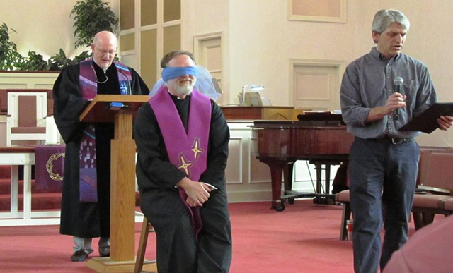 Pastor RIck, Pastor Tripp, and Doug Davidson enact the blind man