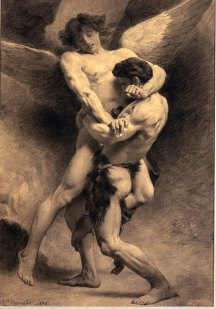 Jacob wrestles the angel by Leon Bonnat